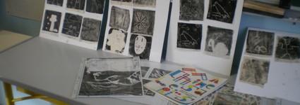 Ateliers monotype avec Mélanie Le Page au centre de loisirs de St-Martin-du-Bois