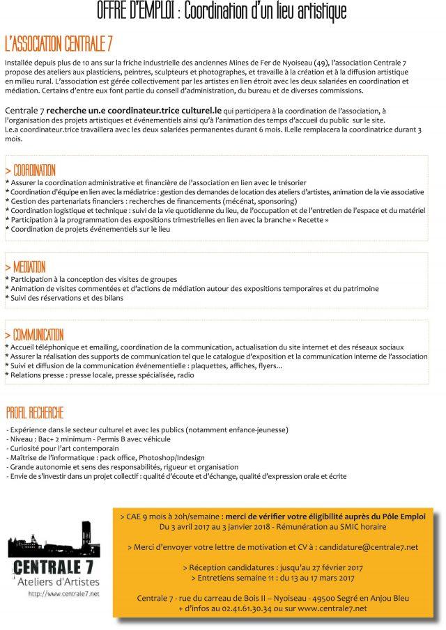 Offre d'emploi : coordination de l'association Centrale7